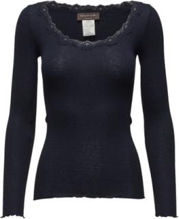 Silk T-Shirt Regular Ls W/Rev Vinta T-shirts & Tops Long-sleeved Blå Rosemunde