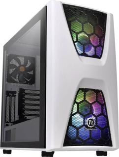 Midi-tower PC-kabinet, Gaming-kabinet Thermaltake COMMANDER C34 TG Hvid, Sort 2 forudinstallerede LED blæsere , 1 forudinstalleret blæser , LCS kompat