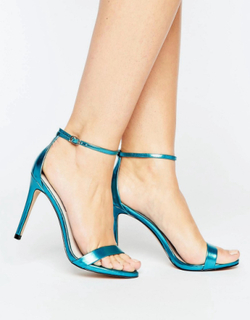 Steve Madden Stecy Metallic Blue Barely There Heeled Sandals - Blue