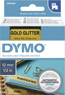Skriftbånd DYMO D1 2084349 Båndfarve: Guld Skriftfarve:Sort 12 mm 3 m