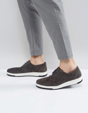 ASOS Casual Derby Shoes In Grey Suede With Ribbed