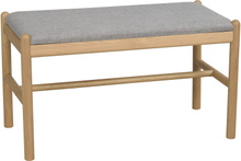 Milford bänk ek/grått tyg 80 x 40 cm
