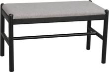 Milford bänk svart ek/grått tyg 80 x 40 cm