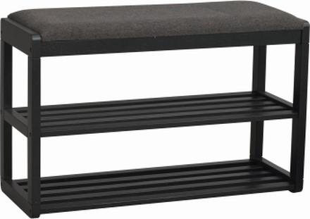 Methro skoställ/sittbänk svart ek/mörkgrå 80 x 50 cm