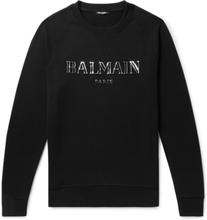 Balmain - Metallic Logo-print Loopback Cotton-jersey Sweatshirt - Black - XS,Balmain - Metallic Logo-print Loopback Cotton-jersey Sweatshirt - Black - M,Balmain - Metallic Logo-print Loopback Cotton-jersey Sweatshirt - Black - S,Balmain - Metallic Logo-pr