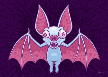 Vector cartoon illustration of a wacky albino vampire bat with pink ey