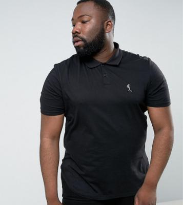 Religion PLUS Polo Shirt With Curved Hem - Black