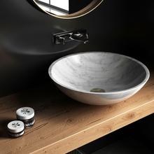 Exklusivt handfat i 100% Carrara marmor-38x38x12cm