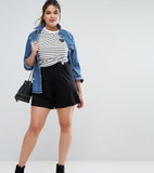 ASOS CURVE Pleated Culotte Shorts - Black