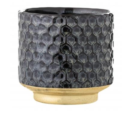 Bloomingville - Urtepotteskjuler i stentøj - Blå og guld - 10 cm.