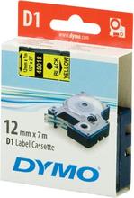 DYMO D1 merkkausteippi 12mm keltainen/musta teksti 7m