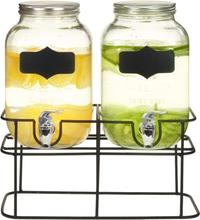 vidaXL Glasbehållare 2 st med stativ 2 x 4 L