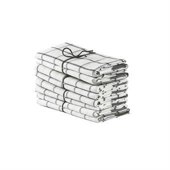 Axlings Linne 2-pack Handduk Köksruta benvit/betong