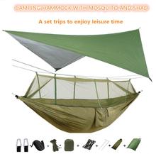 Portable Camping Hammock with Mosquito Net and Rain Fly Tarp,Hammock Canopy Nylon Hammocks Double Hammock Hiking Patio Furniture