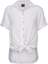 Linen Tie Front Shirt Kortermet Skjorte Hvit Abercrombie & Fitch