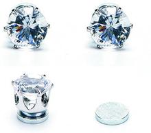 Örhänge med Vit Kristall i rosfritt stål med Magnet -Unisex -Du behöver inget hål i örat!