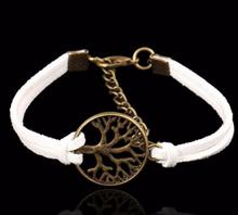 """Läderarmband """"Tree of Life"""" -Vit"""