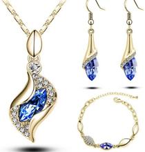 Smyckeset med Blå stora och Vita små Austrian Crystals samt i 18 K Guldplätering