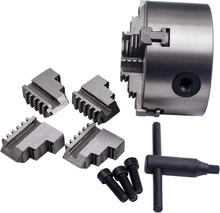 4 Jaw Chuck Scroll Self Centering with Spare Jaws K12-100Silver 4200RPM