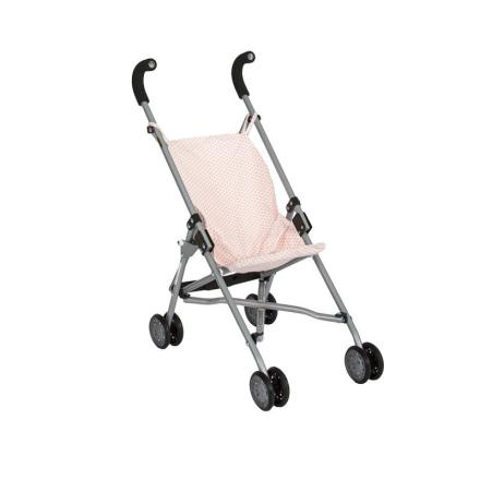 Barrutoys paraply dukkeklapvogn, rosa prikker - LykkeLeg