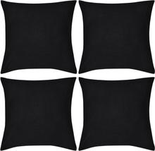 vidaXL 4 Kuddöverdrag i bomull svarta 80 x 80 cm