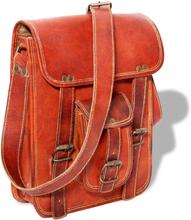 vidaXL Axelväska för 7-tums laptop äkta läder brun