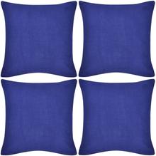 vidaXL 4 Kuddöverdrag i bomull blåa 40 x 40 cm