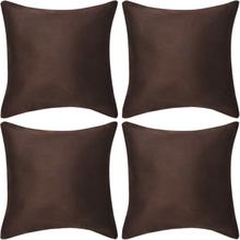 vidaXL Kuddöverdrag 4 st 80x80 cm polyester mockaimitation brun