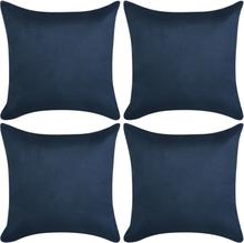 vidaXL Kuddöverdrag 4 st 80x80 cm polyester mockaimitation marinblå