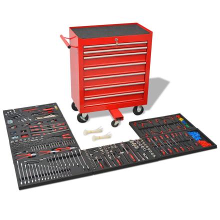 vidaXL værktøjsvogn med 1.125 stykker værktøj stål rød