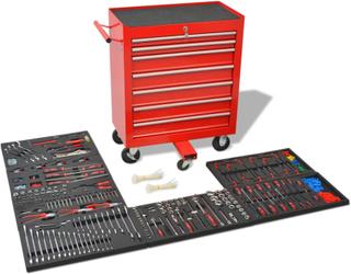 vidaXL Verktygsvagn med 1125 verktyg stål röd