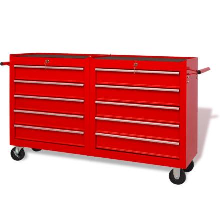 vidaXL værkstedsvogn med 10 skuffer størrelse XXL stål rød