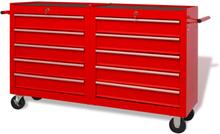 vidaXL Verktygsvagn med 10 lådor storlek XXL stål röd