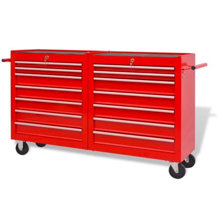 vidaXL værkstedsvogn med 14 skuffer størrelse XXL stål rød