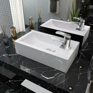 vidaXL Handfat med kranhål rektangulär keramisk vit 46x25,5x12 cm