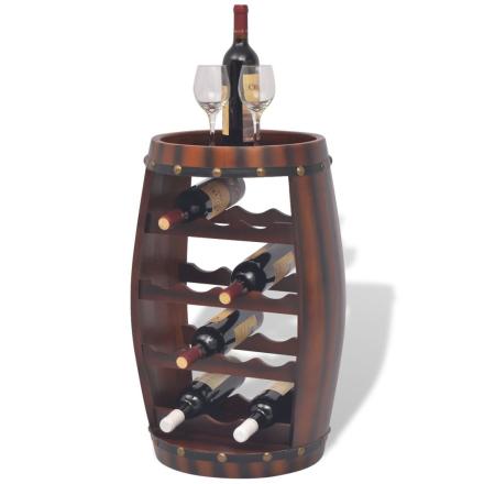 vidaXL Vinställ i formen av en tunna 14 flaskor brun