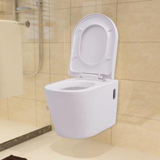 vidaXL Toalettstol vägghängd keramisk vit