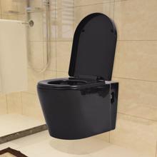 vidaXL Toalettstol vägghängd keramisk svart