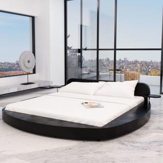 vidaXL Säng med madrass 180 x 200 cm konstläder rund svart
