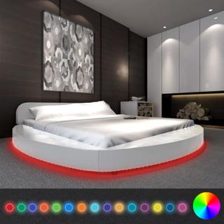 vidaXL Säng med madrass LED 180 x 200 cm konstläder rund vit