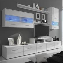 vidaXL TV-bänk med LED 7 delar 250 cm vit högglans