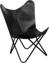 vidaXL butterflystol i ægte læder sort