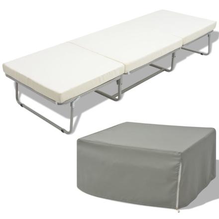 vidaXL Hopfällbar säng/pall med madrass 200x70 cm stål
