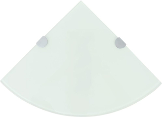 vidaXL Hörnhylla glas med förkromade hyllkonsoler vit 25x25 cm