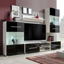 vidaXL TV-møbel med skap og LED-lys 5 deler svart