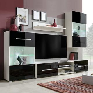 vidaXL Tv-möbel med väggskåp och LED 5 delar svart