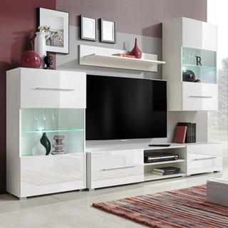 vidaXL TV-möbel med vitrinskåp och LED 5 delar vit