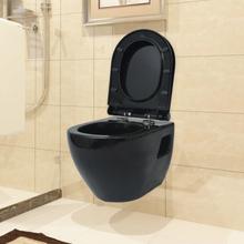 vidaXL Vägghängd toalett med cistern svart
