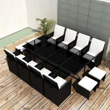 vidaXL udendørs spisebordssæt 13 dele med hynder polyrattan sort