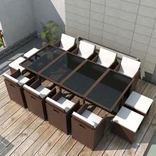 vidaXL udendørs spisebordssæt 13 dele med hynder polyrattan brun